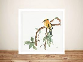 Black Napped Oriole Artwork Canvas Watercolour Prints