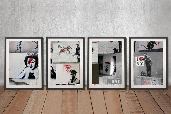 Banksy Red Collage Piece Framed art