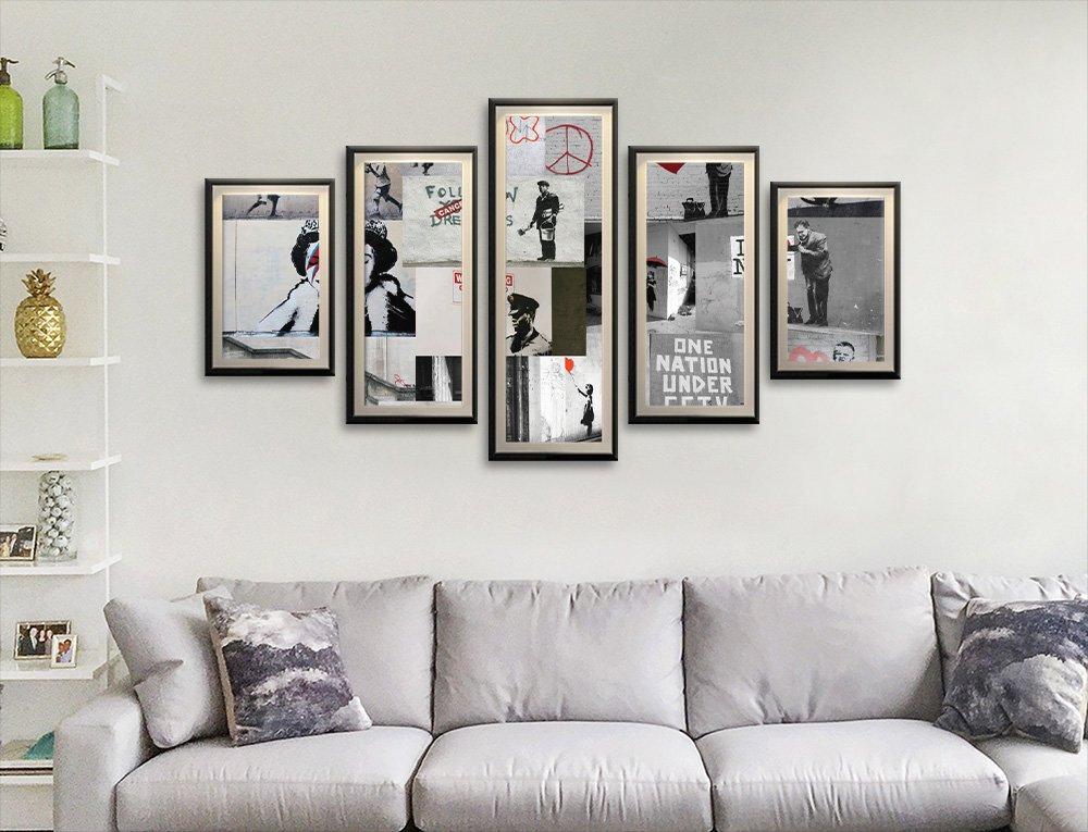 Framed Banksy Split Panel Collage Set