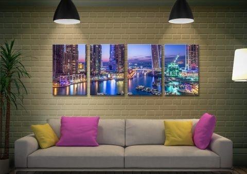 Dubai Marina Skyline 4-Piece Wall Art AU
