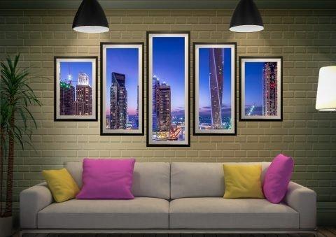 Dubai Marina Framed Split-Diamond Art