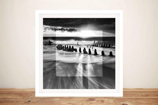 Framed Beachscape Greyscale Wall Art