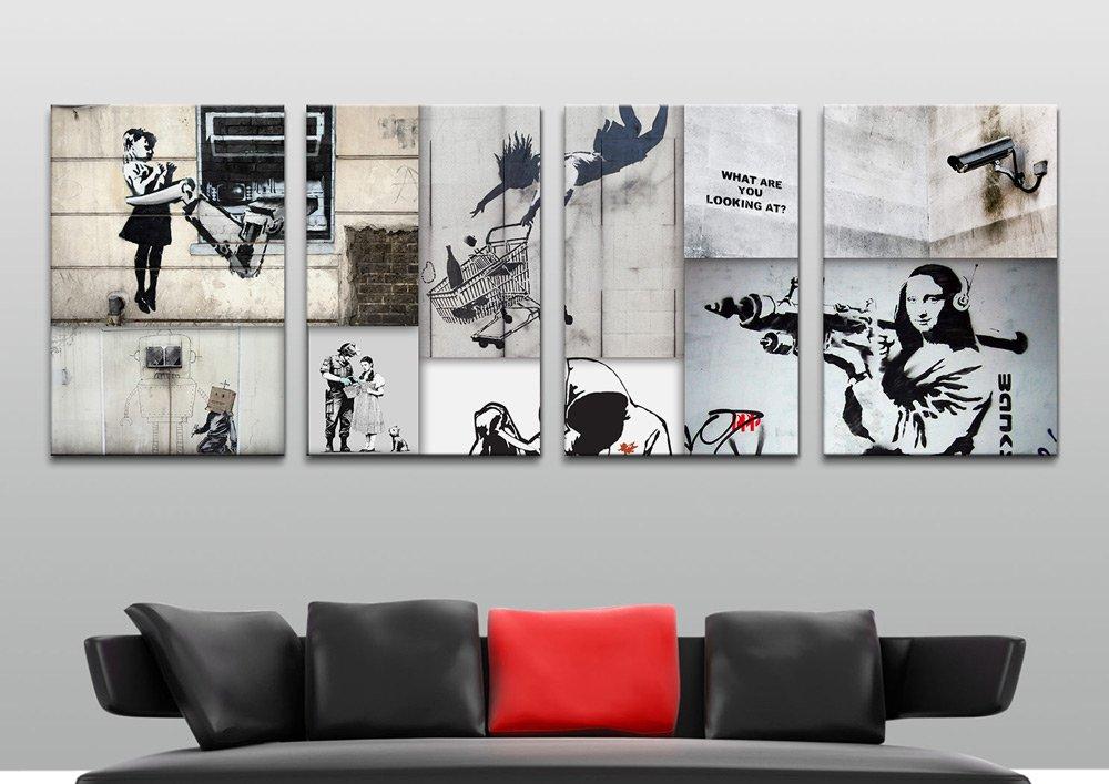 Mono Colour Collage 4-Panel Wall Art