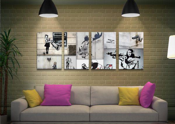 Mono Colour Banksy Collage Quad Art Set