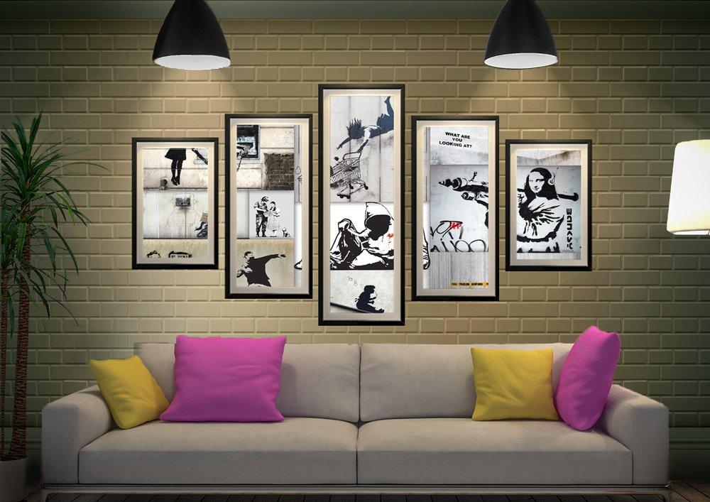 Mono Colour Framed Banksy 5-Piece Art Set