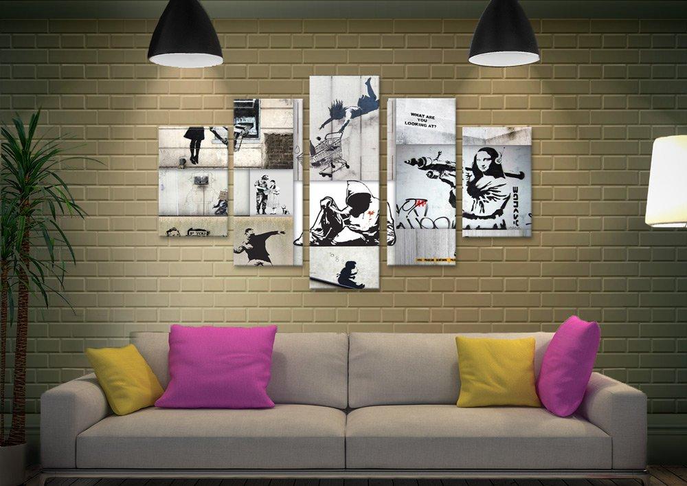 Mono Colour Split Diamond Banksy Art AU