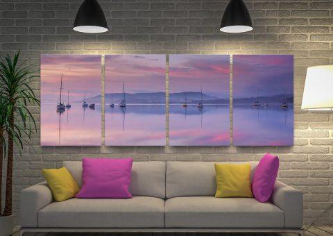 Pink Sky 4 Panels Canvas Artwork