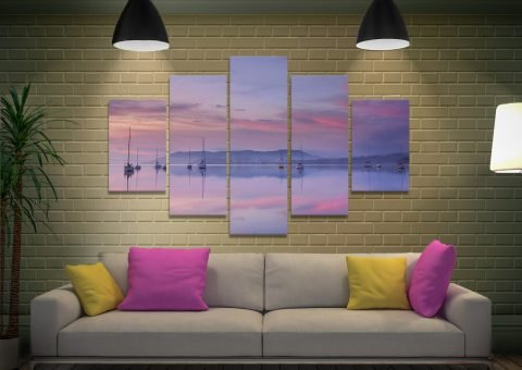 Pink Sky Reflections 5 Piece Canvas Print