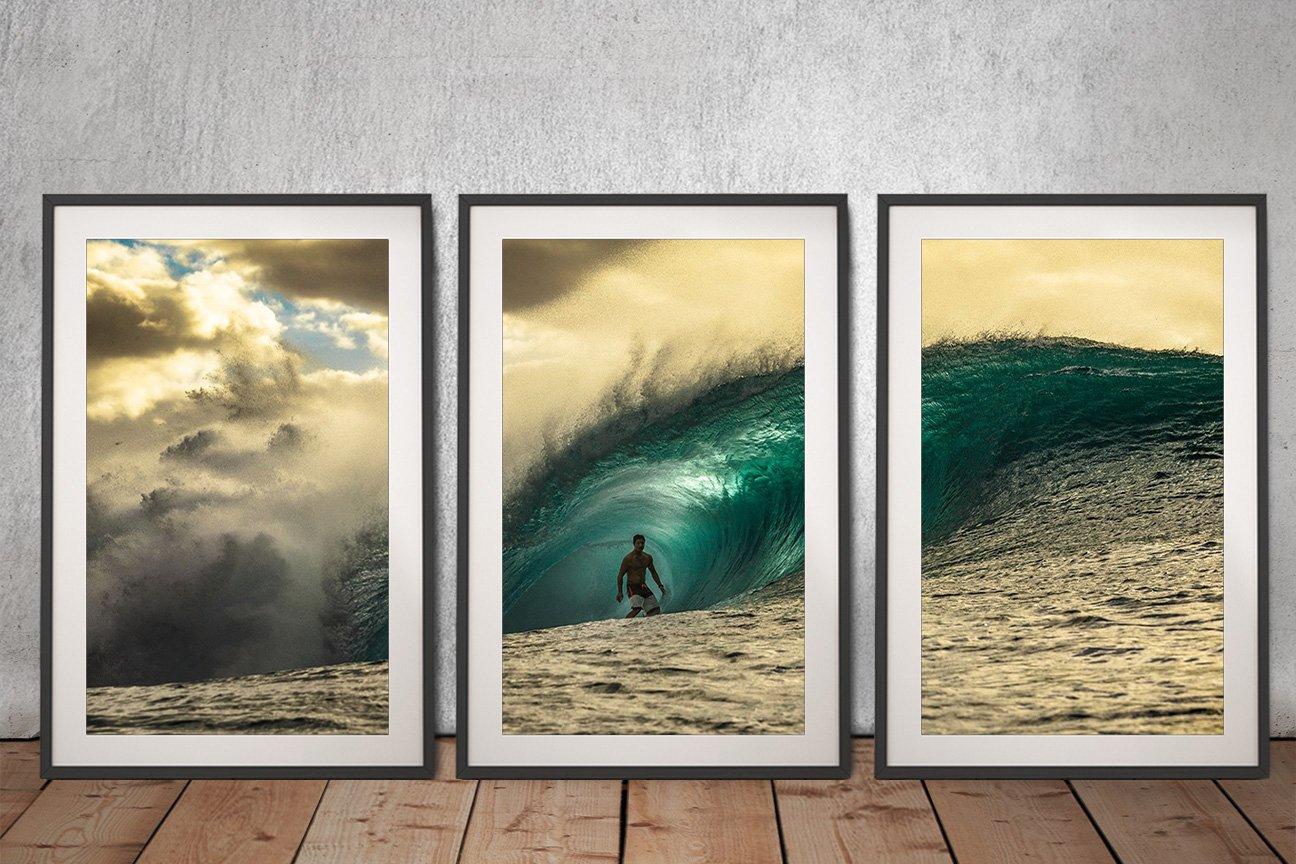 Framed Pipeline Triptych Surf Wall Art