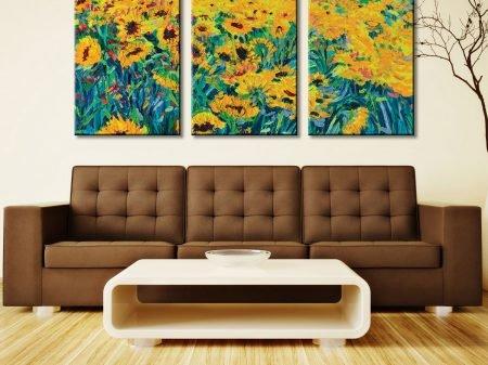 Naranja 3 Panel Trees Art