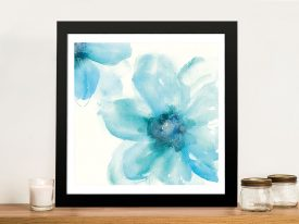 Teal Cosmos Flowers Framed Wall Art