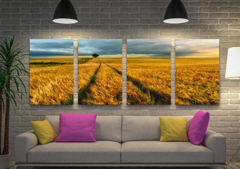 The Wheat Path 4-Piece Landscape Print Set