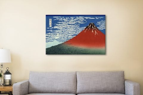 Hokusai Red-southern wind on Fiji on a clear morning Canvas Artwork