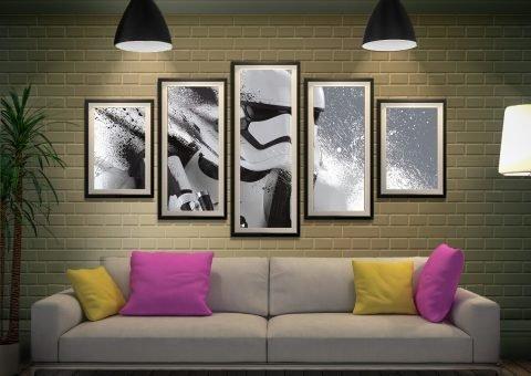 Framed Split Diamond Stormtrooper Wall Art