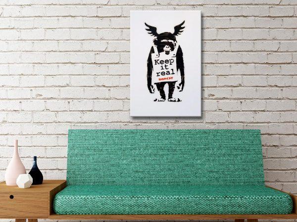 Banksy Ape Keep it Real Australian Canvas
