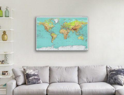 Teal World Map Artwork