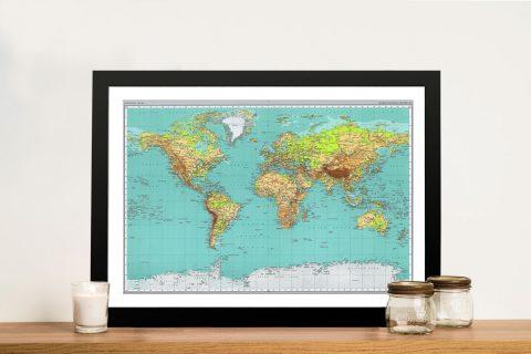 Teal Green World Map Framed Wall Art