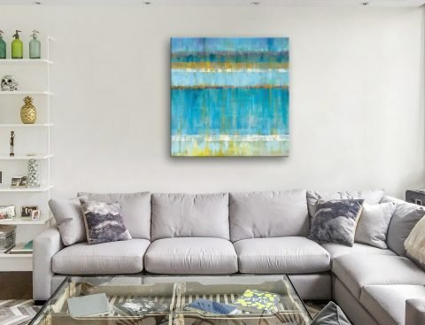 Abstract Ocean Stripes Canvas Art Print