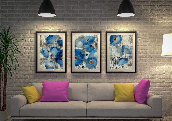 Buy Aquamarine Floral Art Triptych Set of Prints