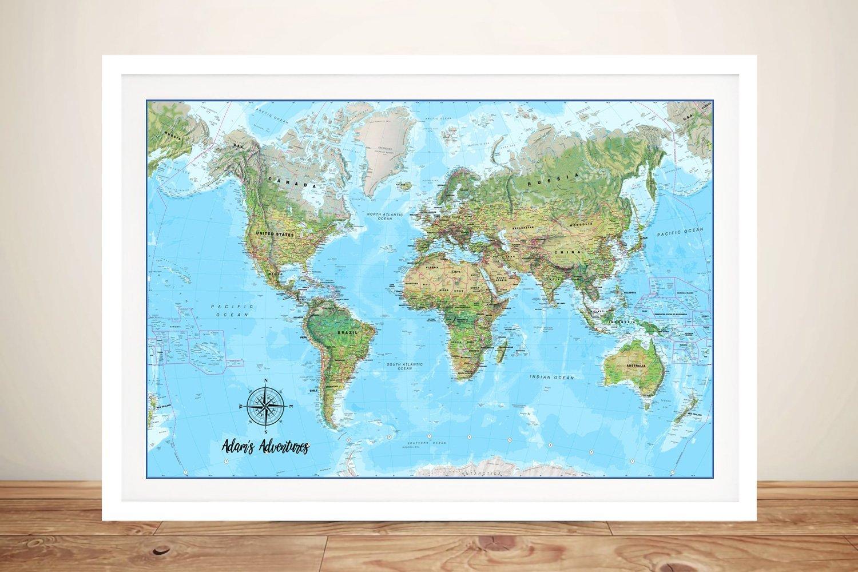Custom World Map Canvas Art Print Australia