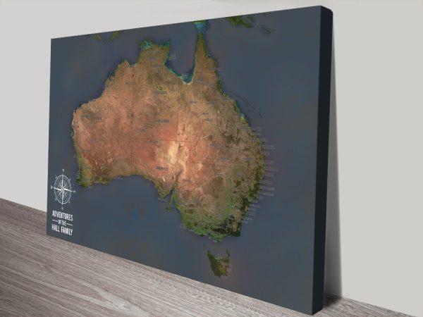 Custom Australia Push Pin Travel Map Art