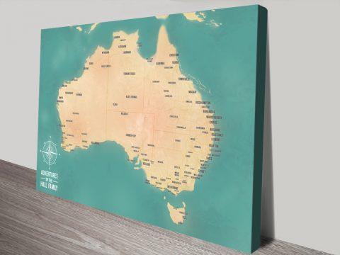 Personalised Teal Green Australia Push Pin Travel Map Art Print