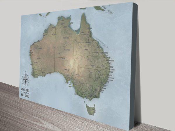 Custom Australia Travel Map Canvas print