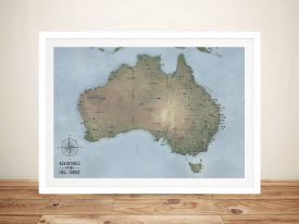 Customisable Cyan Australia Word Art Push Pin Travel Map