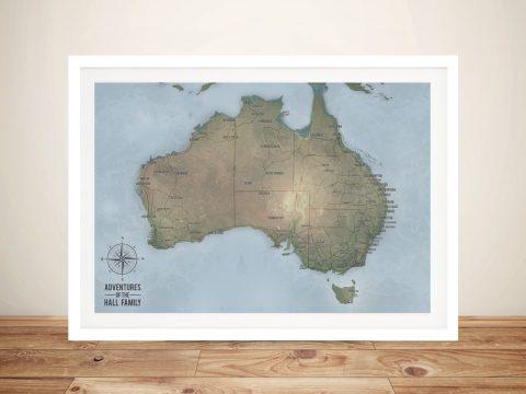 Customisable Cyan Australia Word Art Push Pin Travel Map