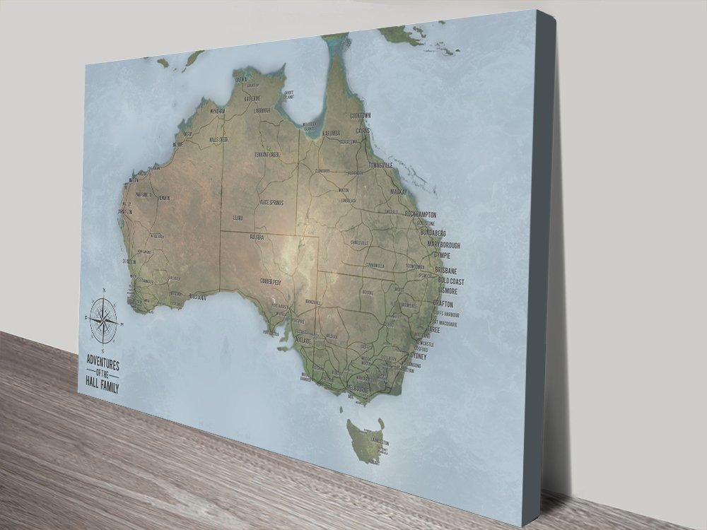 Australia Word Map.Customisable Words Australia Word Art Push Pin Travel Map Blue