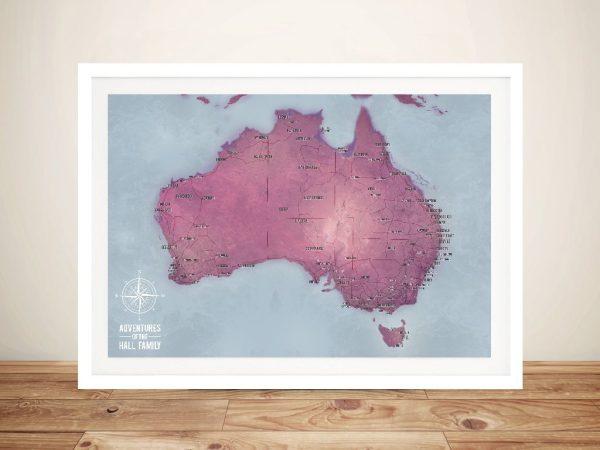 Push Pin Australia Framed Wall Art