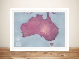 Push Pin Australia Framed Wall Art