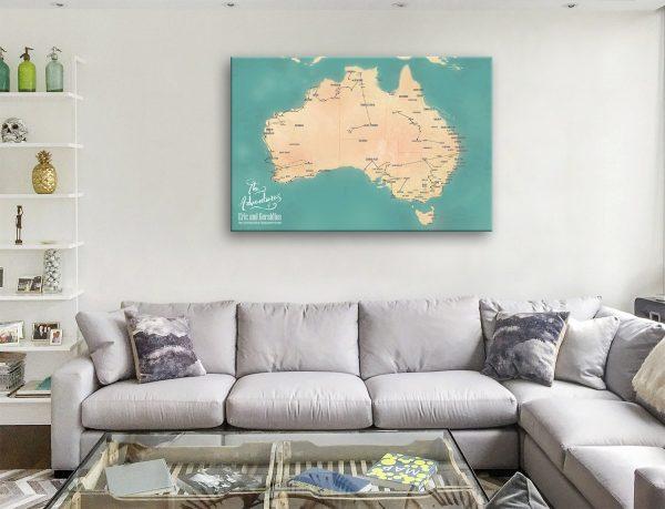 Custom Australia Map Art Teal Canvas Artwork