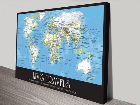 Buy Personalised Travel Map Artwork Picture Australia