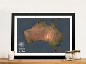 Custom Charcoal Australia Push Pin Travel Map Print