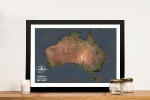 Custom Charcoal Australia Push Pin Travel Map Print