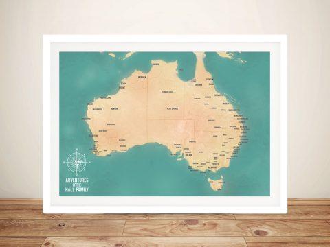 Personalised Green Australia Push Pin Map Art