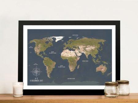 Charcoal World Map Framed Wall Art