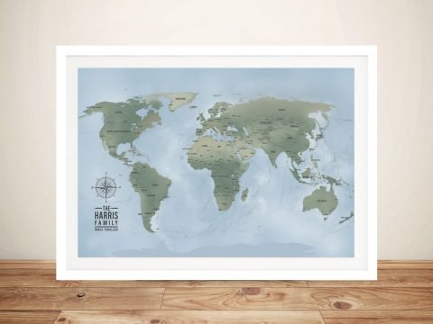 Cyan Personalised Push Pin World Travel Map Canvas Artwork