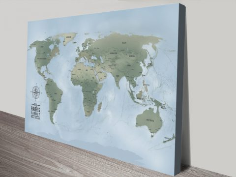 Cyan Custom Push Pin World Travel Map Canvas Picture