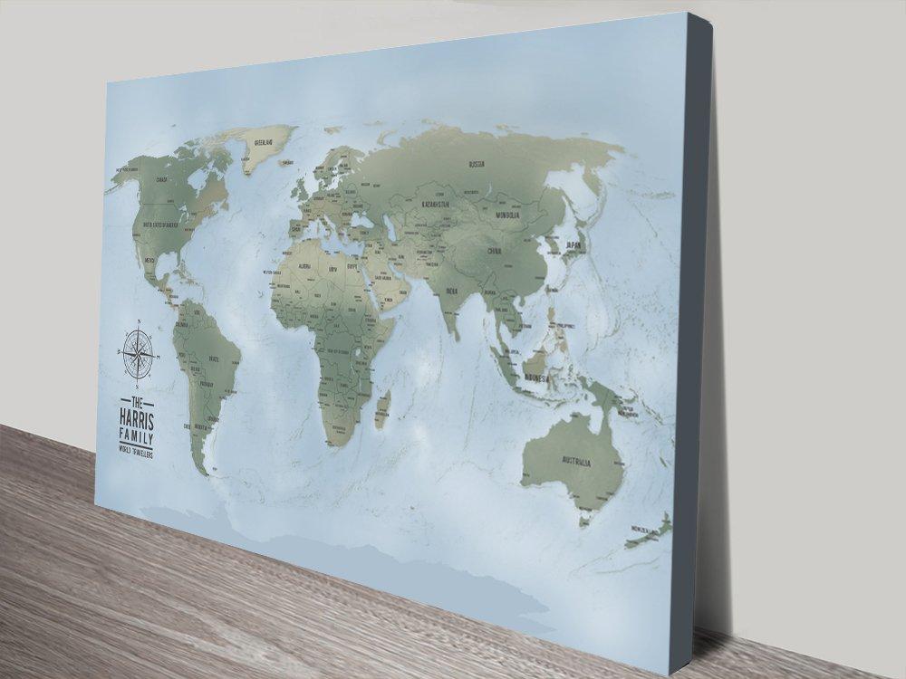 Push Pin Travel Maps Canvas Wall Art Gift Idea | Personalised Artwork