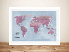 Magenta World Push Pin Map with cities Framed Wall Art