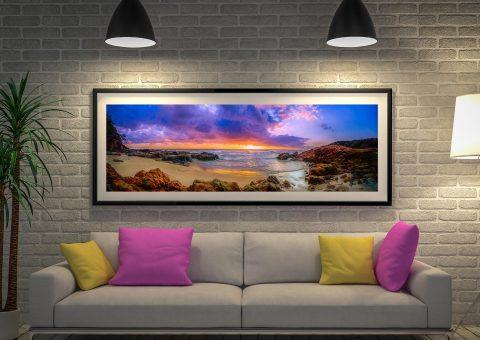 Sunset Bay Beach Framed wall Art Australia