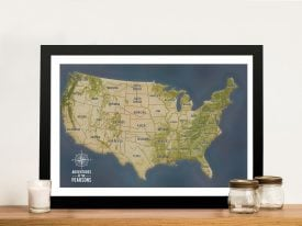 USA Pinboard Map Art Charcoal Wall Picture Decor