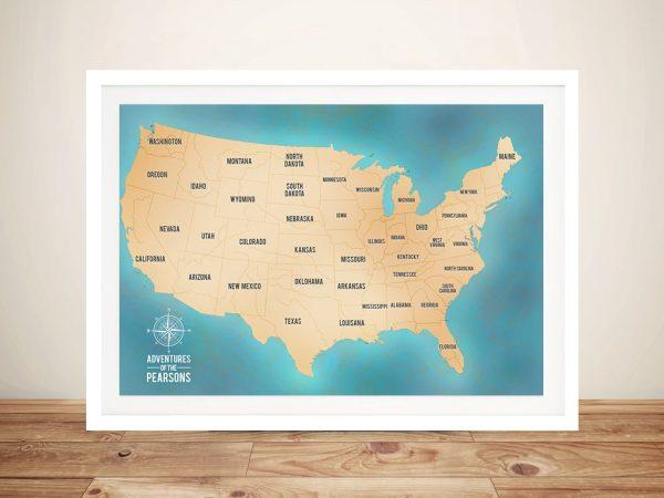 USA Map Teal Framed Wall Art
