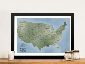 Personalized USA Push PinBoard Map