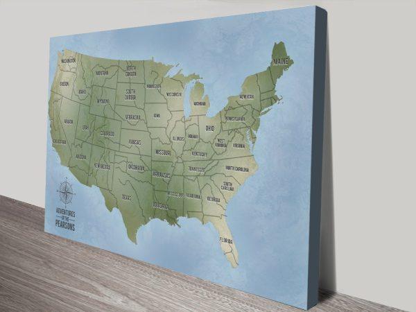 Personalised USA Push Pinboard Map canvas wall art