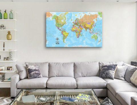 Custom Voyager Push Pin World Map Canvas Artwork