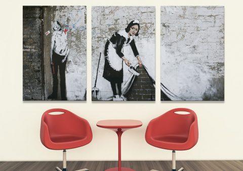 Banksy Maid 3 Piece Canvas Artwork