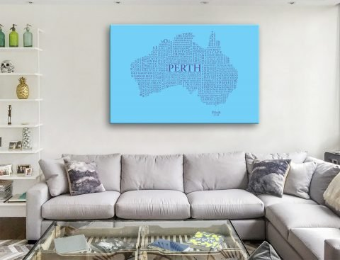 Australia outline Word Map Canvas Artwork